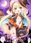 1girl :d animal_ears arm_up black_dress black_footwear black_gloves black_headwear black_jacket blonde_hair blue_hair blush bow breasts candy candy_wrapper cat_ears commentary_request crescent_moon cropped_jacket dress elbow_gloves food garter_straps ghost gloves green_eyes halloween hand_on_headwear hat highres jacket layered_dress lollipop long_hair looking_at_viewer moon multicolored_hair open_mouth orange_bow original puffy_short_sleeves puffy_sleeves shikito shoes short_sleeves skindentation sky small_breasts smile solo standing standing_on_one_leg star_(sky) starry_sky striped striped_legwear swirl_lollipop thigh-highs tilted_headwear two-tone_hair very_long_hair witch_hat