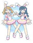 2girls :d a01-isumi1013 alternate_costume animal_ears bangs blue_hair blush brown_hair choker dawn_(pokemon) dress fake_animal_ears full_body heart heart_hands highres may_(pokemon) multiple_girls official_alternate_costume open_mouth pink_choker pink_dress pink_footwear pokemon pokemon_(game) pokemon_dppt pokemon_masters_ex pokemon_oras rabbit_ears smile wrist_cuffs
