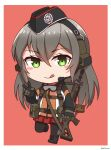 1girl :q absurdres assault_rifle bangs black_footwear black_gloves black_headwear black_legwear blush_stickers boots brown_background chibi closed_mouth commentary_request cross-laced_footwear ear_protection eyebrows_visible_through_hair full_body garrison_cap girls_frontline gloves goggles goggles_around_neck green_eyes grey_hair gun hair_between_eyes hand_up hat highres holding holding_gun holding_weapon jacket lace-up_boots long_hair long_sleeves looking_at_viewer ndtwofives object_namesake pantyhose pleated_skirt red_skirt rifle sig_500_(girls'_frontline)_(ndtwofives) sig_550 simple_background skirt smile solo standing tongue tongue_out v very_long_hair weapon