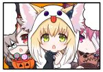 3girls animal_ear_fluff animal_ears arknights bandage_over_one_eye bangs black_border black_gloves blank_speech_bubble blush border character_request chestnut_mouth closed_mouth commentary_request ears_through_headwear eyebrows_visible_through_hair eyepatch fox_ears ghost_costume gloves green_eyes grey_hair hair_between_eyes hair_over_one_eye halloween halloween_bucket hands_up hood hood_up kitara_koichi looking_at_viewer multicolored_hair multiple_girls open_mouth popukar_(arknights) red_eyes redhead shamare_(arknights) single_glove speech_bubble stuffed_animal stuffed_dog stuffed_toy suzuran_(arknights) two-tone_hair unfinished upper_body violet_eyes white_hair