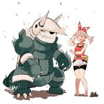 1girl aggron alternate_color bangs barefoot bike_shorts bike_shorts_under_shorts blush bow_hairband bracelet brown_hair claws closed_eyes commentary_request fanny_pack hairband hand_up jewelry keinesandayoooo knees_together_feet_apart may_(pokemon) open_mouth pigeon-toed pokemon pokemon_(game) pokemon_oras red_hairband red_shirt shiny_pokemon shirt shoes shoes_removed shorts signature sleeveless sleeveless_shirt standing water_drop white_background white_shorts yellow_bag yellow_footwear