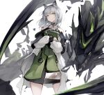 1girl alternate_hair_color animal_ears arknights breasts cat_ears closed_mouth coat commentary cowboy_shot crossed_arms dress expressionless green_dress green_eyes highres kal'tsit_(arknights) kodamazon looking_at_viewer medium_breasts medium_hair mon3tr_(arknights) open_clothes open_coat oripathy_lesion_(arknights) see-through silver_hair simple_background solo standing white_background white_coat