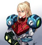 1girl absurdres antares_topaz arm_cannon armor bangs blonde_hair blue_eyes commentary english_commentary glowing gun highres long_hair looking_at_viewer metroid metroid_dread mole mole_under_mouth ponytail power_armor power_suit samus_aran science_fiction sidelocks simple_background solo upper_body weapon