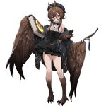 1girl :o animal_ears bangs bare_shoulders beret black_bow black_headwear black_jacket black_skirt book bow breasts brown_eyes brown_hair brown_wings claws clover_theater feathered_wings full_body glasses hair_ornament hairband hairpin harpy hat holding holding_book jacket long_hair looking_at_viewer medium_breasts monster_girl norris_(clover_theater) official_art shirt shisantian skirt sleeveless sleeveless_shirt solo transparent_background white_shirt winged_arms wings