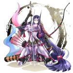1girl arm_guards armor bangs black_gloves bodysuit bow_(weapon) breasts commission fate/grand_order fate_(series) fingerless_gloves fuse_ryuuta gloves highres horns japanese_armor katana kote large_breasts loincloth long_hair low-tied_long_hair minamoto_no_raikou_(fate) oni_horns parted_bangs purple_bodysuit purple_hair ribbed_sleeves rope skeb_commission smile solo sword tabard very_long_hair violet_eyes weapon