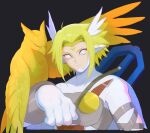 1boy animal_on_arm armor bangs bird bird_on_arm black_background blonde_hair bodysuit breastplate cape circlet closed_mouth covered_collarbone crossbow digimon digimon_(creature) english_commentary facial_mark frown hexed highres leather_belt looking_at_viewer male_focus medium_hair no_headwear no_helmet parted_bangs sidelocks simple_background upper_body valkyrimon weapon weapon_on_back white_bodysuit white_cape white_eyes wing_hair_ornament