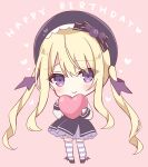 1girl bangs belt black_bow black_footwear black_headwear black_skirt blonde_hair blush bow chibi closed_mouth commentary_request english_text eyebrows_visible_through_hair frilled_skirt frills full_body hair_between_eyes happy_birthday heart holding holding_heart hoshi_(snacherubi) long_hair long_sleeves looking_at_viewer original over-kneehighs pink_background shirt simple_background skirt sleeves_past_wrists smile solo standing striped striped_legwear thigh-highs twintails very_long_hair violet_eyes white_shirt wing_hair_ornament