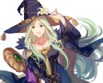 1girl adjusting_clothes adjusting_headwear alternate_costume blue_dress blue_headwear breasts collarbone commentary_request dress eyebrows_visible_through_hair fire_emblem fire_emblem:_three_houses fire_emblem_heroes floating_hair flower forehead gold_trim green_eyes green_hair halloween halloween_costume hand_on_headwear hat hat_flower highres holding holding_staff holding_weapon jnsghsi large_breasts long_hair official_alternate_costume open_mouth rhea_(fire_emblem) simple_background smile solo staff tongue upper_body very_long_hair weapon white_background white_flower wide_sleeves witch witch_hat