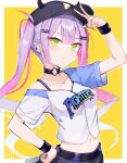 1girl artist_logo bangs baseball_cap black_headwear border choker clothes_writing collarbone commentary crop_top ear_piercing fake_horns green_eyes hair_ornament hairclip hand_on_hip hand_up hat highres hololive horned_headwear horns long_hair looking_at_viewer midriff navel o-ring o-ring_choker outside_border piercing purple_hair shirt short_sleeves sidelocks simple_background smile solo split_mouth suparaisu tokoyami_towa twintails upper_body v white_border white_shirt wristband yellow_background