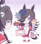 2girls animal_ears bag bangs black-framed_eyewear black_hair blue_flower blue_rose braid brown_hair chibi closed_eyes commentary_request crepe facing_another flower food glasses hair_over_one_eye hat hat_flower holding horse_ears horse_girl horse_tail indoors jacket long_hair looking_at_viewer mopiwo multiple_girls open_mouth red_footwear rice_shower_(umamusume) rose shopping_bag shorts simple_background smile solo sweat tail takoyaki tilted_headwear track_suit translated triangle_mouth twitter_username umamusume violet_eyes zenno_rob_roy_(umamusume)
