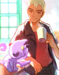 1boy absurdres belt black_shirt commentary_request cup highres holding holding_cup indoors male_focus meipu_hm meowth nanu_(pokemon) pants pokemon pokemon_(game) pokemon_sm red_eyes shirt short_sleeves smile white_hair