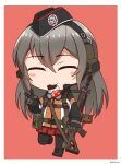 1girl ^_^ absurdres assault_rifle bangs black_footwear black_gloves black_headwear black_legwear blush_stickers boots brown_background candy chibi chocolate chocolate_bar closed_eyes cross-laced_footwear ear_protection eyebrows_visible_through_hair facing_viewer food food_in_mouth full_body garrison_cap girls_frontline gloves goggles goggles_around_neck grey_hair gun hair_between_eyes hand_up hat highres holding holding_gun holding_weapon jacket lace-up_boots long_hair long_sleeves mouth_hold ndtwofives object_namesake pantyhose pleated_skirt red_skirt rifle sig_500_(girls'_frontline)_(ndtwofives) sig_550 simple_background skirt solo standing v very_long_hair weapon
