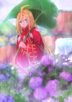 1boy absurdres ahat_(ragnarok_online) ahoge bangs blonde_hair blue_eyes blue_flower closed_mouth colored_eyelashes commentary_request feet_out_of_frame flower hair_between_eyes highres holding holding_umbrella hydrangea leaf_umbrella long_hair looking_at_viewer male_focus manoji purple_flower ragnarok_online rain red_robe smile solo tree umbrella water waterfall