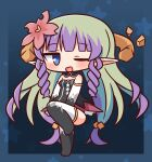 1girl ;d ameth_(princess_connect!) bangs black_dress black_gloves black_legwear blue_eyes blush breasts chibi commentary_request dress elbow_gloves eyebrows_visible_through_hair flower full_body gloves green_hair hair_flower hair_ornament hana_kazari highres long_hair looking_at_viewer multicolored_hair no_shoes one_eye_closed open_mouth pointy_ears princess_connect! purple_hair red_flower small_breasts smile solo standing standing_on_one_leg strapless strapless_dress thigh-highs two-tone_hair very_long_hair white_gloves white_legwear