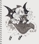 1girl :d bangs bat_wings bow bowtie elis_(touhou) eyebrows_visible_through_hair frilled_skirt frills full_body greyscale hair_bow highres holding holding_wand juliet_sleeves kuroshirase long_sleeves looking_at_viewer monochrome one-hour_drawing_challenge open_mouth pointy_ears puffy_sleeves shoes skirt smile socks solo star_(symbol) star_tattoo star_wand tattoo touhou touhou_(pc-98) twitter_username vest wand wings