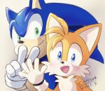 2boys :d animal_ears animal_nose artist_name blonde_hair blue_eyes blue_fur blue_hair blush body_fur chana_(furrytails) closed_mouth commentary_request dated face fox_boy fox_ears friends furry gloves green_eyes hand_up hands hedgehog_ears highres looking_at_viewer multiple_boys open_mouth signature simple_background smile sonic_(series) sonic_the_hedgehog sonic_the_hedgehog_2 tails_(sonic) tongue v waving white_fur white_gloves yellow_fur