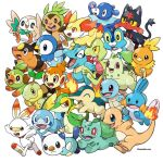 :d absurdres black_eyes bright_pupils bulbasaur charmander chespin chikorita chimchar closed_eyes closed_mouth commentary_request creature cyndaquil fangs fennekin fire flame froakie frown grookey highres litten looking_at_viewer looking_up mudkip no_humans open_mouth oshawott piplup pokemon pokemon_(creature) popplio red_eyes rorosuke rowlet scorbunny simple_background smile snivy sobble squirtle teeth tepig tongue torchic totodile treecko turtwig upper_teeth white_background white_pupils