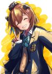 1girl alternate_costume aruka blazer blue_bowtie blue_jacket brown_hair closed_eyes commentary_request dated facing_viewer grin headgear headset highres jacket kantai_collection school_uniform short_hair smile solo speaking_tube_headset twitter_username upper_body v yukikaze_(kancolle)
