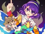 2girls animal_ears aura bangs blonde_hair blush breasts cape chibi eyebrows_visible_through_hair fox_ears fox_tail hair_between_eyes jumpsuit kudamaki_tsukasa large_breasts long_sleeves looking_at_viewer multicolored multicolored_clothes multiple_girls open_mouth patchwork_clothes pointing pointing_up pouch puffy_short_sleeves puffy_sleeves purple_background purple_hair red_button short_hair short_sleeves simple_background sky_print smile sparkling_eyes tail tenkyuu_chimata touhou triangle_mouth tsugomori_(remilia0398) violet_eyes white_cape white_jumpsuit yellow_eyes