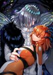 1boy 1girl ahoge arthropod_boy black_hair blue_eyes bodysuit brown_hair chaldea_combat_uniform closed_eyes cowboy_shot fate/grand_order fate_(series) fujimaru_ritsuka_(female) hand_on_another's_stomach hetero highres insect_wings looking_at_another oberon_(fate) orange_bodysuit profile ruri_rarako shiny shiny_clothes shiny_hair short_hair spoilers unconscious wings