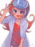 blue_eyes coat dress hamuko-san helmet highres mona_(warioware) nintendo orange_hair red_dress warioware white_coat