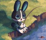 1girl :d animal_crossing blue_eyes dotty_(animal_crossing) fishing fishing_rod fouinar grass highres open_mouth outdoors rabbit shadow sitting smile solo water