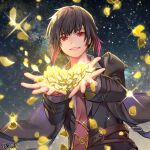 1boy black_hair brown_eyes character_request coat commentary_request dairoku_ryouhei flower golden_rose hands_up multicolored_hair necktie night official_art penguu_(green528) petals redhead rose shirt smile starry_background streaked_hair wind