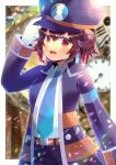 1girl :d arm_up bangs black_pants blue_neckwear blurry blurry_background blush breasts brown_eyes brown_hair clock collared_jacket collared_shirt commission copyright_request depth_of_field eyebrows_visible_through_hair fang hair_between_eyes hand_on_headwear hat horns jacket kou_hiyoyo looking_at_viewer necktie open_clothes open_jacket open_mouth pants peaked_cap purple_headwear purple_jacket roman_numeral shirt skeb_commission small_breasts smile solo virtual_youtuber white_shirt