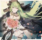 1girl black_ribbon bouquet breasts chain collar commentary_request dress eyebrows_visible_through_hair feet_out_of_frame flower girls_frontline green_hair hair_ribbon highres holding holding_bouquet holding_flower lock long_hair looking_at_viewer mk48_(girls'_frontline) open_mouth petals rabb_horn red_eyes ribbon smile smirk solo standing thigh-highs wedding wedding_dress white_collar white_dress white_legwear yandere