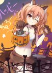 1girl animal_ear_fluff animal_ears animal_hands bangs blush breasts candy commentary_request eyebrows eyebrows_visible_through_hair fake_animal_ears fence food gloves halloween highres hitomi13 inaba_meguru jack-o'-lantern jewelry miniskirt navel necklace one_eye_closed orange_eyes orange_hair paw_gloves sanoba_witch skirt smile solo tail teeth translation_request twintails