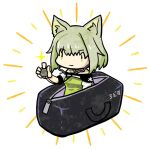 1girl animal_ear_fluff animal_ears arknights bag cat_ears cat_girl closed_mouth dress duffel_bag green_dress green_eyes green_hair highres kal'tsit_(arknights) off-shoulder_dress off_shoulder sarasa353 short_hair simple_background solo stethoscope white_background