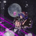 1girl black_dress blue_hair blurry blurry_background book doremy_sweet dress erty113 full_body full_moon hat holding holding_book looking_at_viewer moon night night_sky nightcap pom_pom_(clothes) red_headwear sky socks solo star_(sky) starry_sky touhou white_bloomers white_legwear