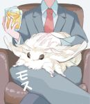 1boy animal animal_on_lap armchair bug chair crossed_legs cup feet_out_of_frame fluffy formal head_out_of_frame highres holding holding_cup moth necktie ootani_eiti original oversized_animal oversized_insect petting red_neckwear suit white_background white_fur