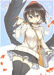 1girl :p between_breasts black_hair breasts duplicate frilled_skirt frills large_breasts matsu_kitsune pixel-perfect_duplicate red_eyes ribbed_sweater shameimaru_aya short_hair simple_background skirt solo strap_between_breasts sweater tengu thigh-highs thighs tongue tongue_out touhou wings
