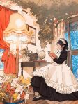 1girl apron black_dress black_footwear black_hair book bow bucket chair closed_eyes closed_mouth commentary_request curtains desk drawer dress flower full_body globe highres holding holding_book indoors lamp leaf long_dress long_sleeves maid maid_apron maid_headdress meido-fuku_ga_mitai neck_ribbon open_book original painting_(object) photo-referenced plant potted_plant ribbon short_hair sitting smile solo white_bow window