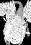 1girl bangs black_background blush breasts centauroid chimera claws closed_eyes commentary_request dragon_tail dungeon_meshi eyebrows_behind_hair falin_thorden feathered_wings feathers floating_hair flying greyscale hair_between_eyes highres large_breasts monochrome monster_girl navel open_mouth outstretched_arms short_hair sidelocks simple_background smile solo spoilers stomach tail talons taur teeth thick_eyebrows toshio_(zxmsry) under_boob upper_teeth wings