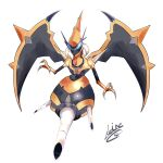 absurdres blue_eyes claws commentary_request full_body highres keinesandayoooo looking_at_viewer naganadel no_humans open_mouth pokemon pokemon_(creature) signature simple_background solo ultra_beast white_background
