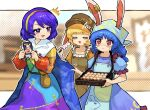 3girls ^^^ animal_ears animal_print apron bangs blonde_hair blue_dress blue_hair blue_headwear brown_bag brown_headwear bunny_print cabbie_hat cape cape_grab card closed_eyes commentary crescent crying crying_with_eyes_open dango dress earclip ears_through_headwear food hairband hat head_scarf highres holding howhow_notei long_hair long_sleeves medium_hair multicolored multicolored_clothes multicolored_dress multiple_girls open_mouth pouch puffy_short_sleeves puffy_sleeves purple_hair rabbit_ears rainbow_gradient red_eyes ringo_(touhou) seiran_(touhou) short_sleeves sky_print smile star_(symbol) star_print tears tenkyuu_chimata touhou tray two-sided_cape two-sided_fabric violet_eyes wagashi white_cape yellow_dress