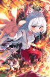 1girl arm_garter artist_name bamboo bamboo_forest bangs blue_eyes blurry blurry_foreground blush bow breasts burnt_clothes buttons cigarette clenched_hand collarbone collared_shirt commentary eyebrows_visible_through_hair fire flaming_hand floating_hair foreshortening forest fujiwara_no_mokou green_eyes hair_bow highres hime_cut kiramarukou long_hair long_sleeves looking_at_viewer mary_janes multicolored multicolored_eyes nature ofuda ofuda_on_clothes open_hand orange_eyes outstretched_arm outstretched_hand pants reaching_out red_bow red_eyes red_footwear red_pants shirt shoes sidelocks signature small_breasts smile sparkle suspenders teeth_hold touhou twitter_username two-tone_bow v-shaped_eyebrows very_long_hair white_bow white_hair white_shirt