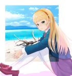 1girl bangs beach blonde_hair blue_jacket blue_sky blunt_bangs branch brown_footwear clouds commentary_request green_eyes hairband heanna_sumire highres jacket light_blush loafers long_sleeves looking_at_viewer love_live! love_live!_superstar!! mountain netsuka ocean on_ground orange_hairband parted_lips school_uniform shoes sitting sky solo thigh-highs yuigaoka_school_uniform zettai_ryouiki