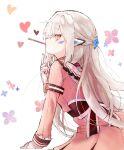 dress elsword eve_(elsword) food highres pink_dress pocky solo white_hair