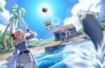 >_< 3girls :d ahoge arms_up bag bag_charm bangs barbara_(genshin_impact) barbara_(summertime_sparkle)_(genshin_impact) bent_over blonde_hair bloomers blue_eyes blue_sky blue_swimsuit bow bracelet brown_footwear brown_scarf cabbie_hat charm_(object) chasing clouds cloudy_sky clover_print coat coconut_tree commentary detached_sleeves dodoco_(genshin_impact) drill_hair duck_print english_commentary eyebrows_visible_through_hair fish genshin_impact hair_between_eyes hair_bow hair_ribbon handbag hat hat_feather hat_ornament highres house jean_(genshin_impact) jean_(sea_breeze_dandelion)_(genshin_impact) jewelry jumping jumpy_dumpty klee_(genshin_impact) lens_flare light_brown_hair long_hair long_sleeves looking_at_viewer low_twintails mountainous_horizon multiple_girls open_mouth outstretched_arms palm_tree pointy_ears ponytail randomboobguy red_coat red_headwear ribbon running scarf shirakawafel sidelocks sky smile spread_arms sun sunlight swimsuit throwing tree twin_drills twintails underwear xd