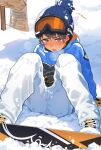 1boy arm_support bangs bar_censor black_hair blue_eyes blue_headwear blue_jacket blush boots breath censored commentary_request day goggles goggles_on_head hat high_collar jacket long_sleeves looking_at_viewer male_focus nose_blush on_ground open_mouth original outdoors pants pillow_(nutsfool) sitting ski_goggles snow snowboard snowman solo sweatdrop white_footwear white_pants winter_clothes