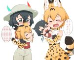 >_< 4girls :3 :d animal_ears bangs black_eyes black_hair blonde_hair blush bow bowtie carrying check_translation chibi child_carry chis_(js60216) closed_eyes commentary_request dual_persona elbow_gloves flying_sweatdrops gloves grey_headwear grey_shorts hat_feather helmet high-waist_skirt highres kaban_(kemono_friends) kemono_friends looking_at_another miniskirt motion_lines multiple_girls open_mouth partial_commentary petting pith_helmet print_gloves print_neckwear print_skirt serval_(kemono_friends) serval_print shirt short_hair shorts simple_background skirt sleeveless sleeveless_shirt smile sweatdrop tail translation_request trembling wavy_mouth white_background white_shirt yellow_gloves yellow_neckwear yellow_skirt younger