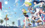 3girls :d ai-chan_(honkai_impact) artist_name balloon bangs bare_shoulders belt black_shirt blue_shirt blue_sky bronya_zaychik bronya_zaychik_(valkyrie_chariot) building clouds cloudy_sky confetti drill_hair floating food_in_mouth full_body green_jacket grey_hair hair_between_eyes hair_ribbon hat highres holding_hands homu_(honkai_impact) honkai_(series) honkai_impact_3rd index_finger_raised jacket kiana_kaslana kiana_kaslana_(knight_moonbeam) multiple_girls mush_(mushlicious) open_mouth outdoors palm_tree pointing ponytail popsicle_in_mouth project_bunny purple_hair raiden_mei raiden_mei_(lightning_empress) ribbon sailor_collar sandals shirt short_sleeves sky sleeveless sleeveless_shirt smile straw_hat summer summer_uniform sun tree twin_drills violet_eyes walking white_hair