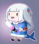 1girl absurdres blue_hoodie chibi fish_tail gawr_gura glowstick hair_ornament highres hololive hololive_english hood hoodie multicolored_hair open_mouth phallic_symbol shark_tail simple_background solo ssogari streaked_hair tail virtual_youtuber white_hair