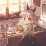 1girl alternate_hairstyle animal_ear_fluff animal_ears apron bangs biyon black_skirt bowl cooking curtains green_apron grey_hair holding indoors kitchen looking_back mouse mouse_ears nazrin plate red_eyes salad shirt short_hair short_ponytail skirt solo sunny_side_up_egg touhou twitter_username upper_body white_shirt window
