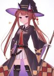 1girl absurdres animal_ears belt boots breasts brown_hair commentary_request hair_between_eyes hair_rings hat highres horse_ears horse_girl horse_tail riya_(01214) simple_background small_breasts staff sweep_tosho_(umamusume) tail thigh-highs thigh_boots twintails umamusume violet_eyes white_background witch_hat