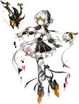 1girl android artist_request backless_outfit black_ribbon bow code:_failess_(elsword) earpiece electricity elsword expressionless facial_mark finger_cots floating forehead_jewel frills full_body leg_ribbon looking_at_viewer moby_(elsword) official_art open_hand orange_eyes outstretched_arms pink_trim remy_(elsword) ribbon short_hair silver_hair white_ribbon