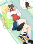 >_< 2girls ^_^ ahoge amami_haruka ankle_socks bangs between_legs between_thighs black_legwear black_skirt blonde_hair blue_footwear blunt_bangs blush bow brown_hair chibi closed_eyes closed_mouth couch cuddling d.y.x. d: denim denim_shorts dreaming drooling dx eyebrows_visible_through_hair facing_viewer food from_above full_body hair_bow hair_ribbon hands_up hood hood_down hoshii_miki hug hug_from_behind idolmaster indoors kneehighs leg_between_thighs loafers long_hair long_sleeves lying mouth_drool multiple_girls nightmare no_nose on_side on_stomach onigiri open_hands open_mouth oversized_food parted_lips pillow pink_ribbon pleated_skirt profile red_bow ribbon shaded_face shoe_soles shoes short_hair shorts skirt sleeping smile sneakers socks spooning sweat thought_bubble turn_pale two-tone_footwear wavy_mouth white_legwear yuri zzz